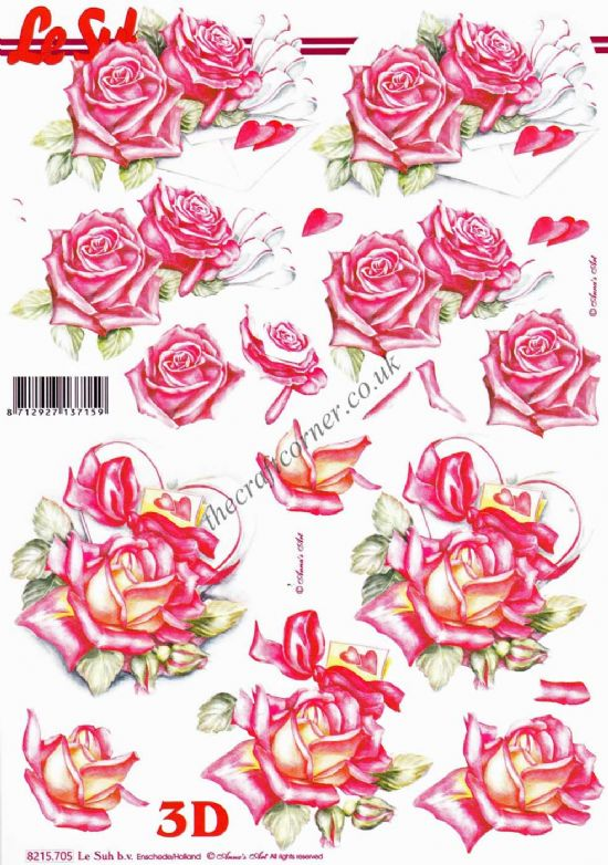 Roses, Love Letters & Hearts 3d Decoupage Craft Sheet